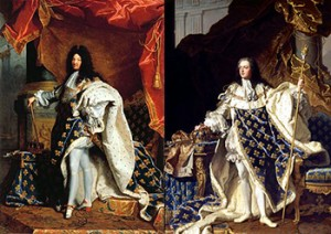 Louis XIV (left) and Louis XV (right), facts about France