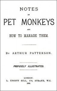 "Title Page from Patterson's Book, ""Notes on Petr Monkeys,"" Public Domain"