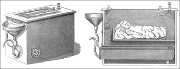 Auvard's couveuse for Victorian preemies and babies showing exterior (left) and interior (right)