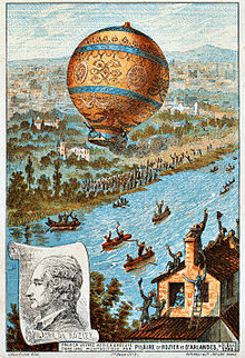 Untethered balloon flight, by Rozier and d'Arlandes on 21 November 1783, Courtesy of Wikipedia