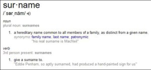 "Definition of the Word ""Surnames,"" Courtesy of Google"