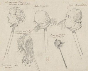 Severed heads - drawing by Girodet.