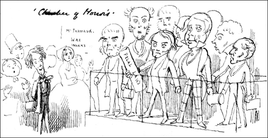 Madame Tussaud's Chamber of Horrors - Richard Doyle's drawing of the Whig ministers being exhibited