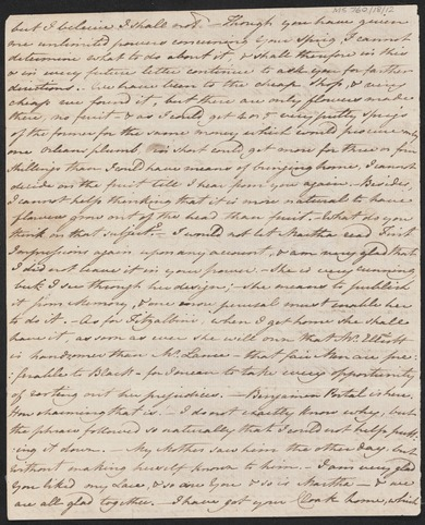 Jane Austen's Pride and Prejudice - letter mentioning the book