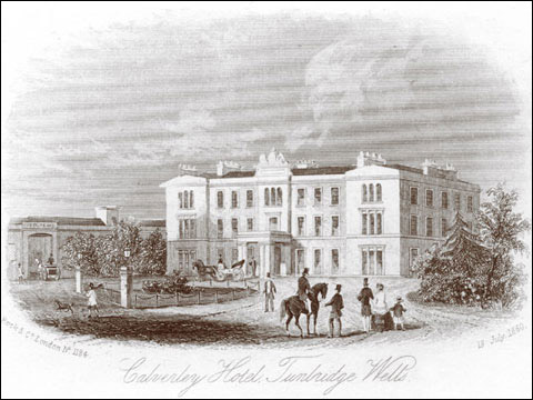 Spa town Tunbridge Wells with an 1860 engraving of the Calverley Hotel