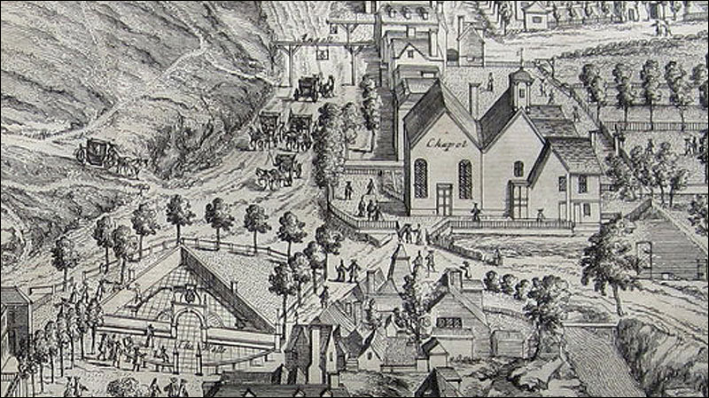 Spa town Tunbridge Wells detail from 1719