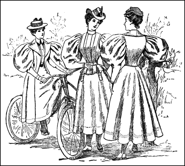 Gigot or leg of mutton sleeves shown on cycling styles in late 1800s.