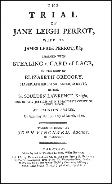 Jane Leigh-Perrot title page from John Pinchard's pamphlet.