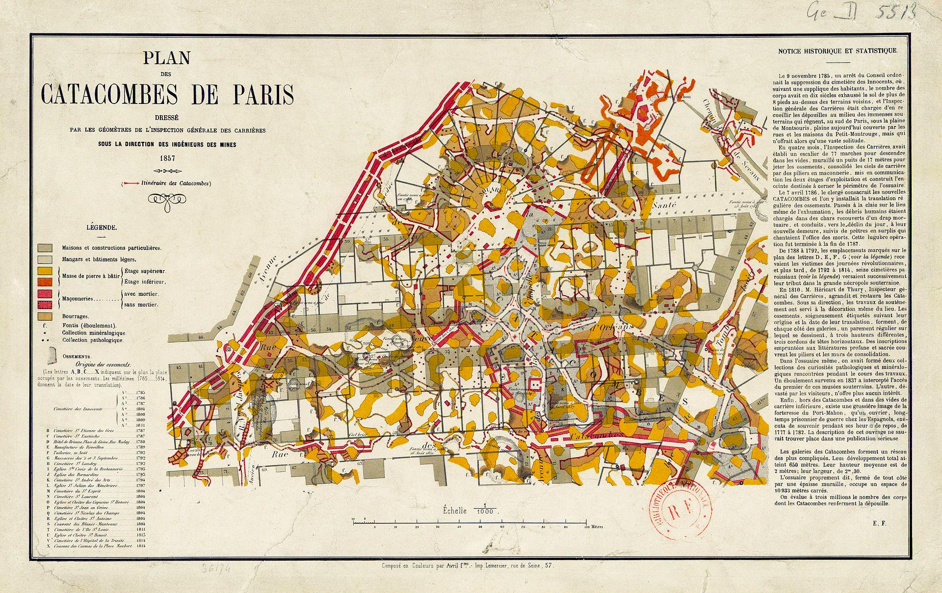 Paris Catacombs map of 1857