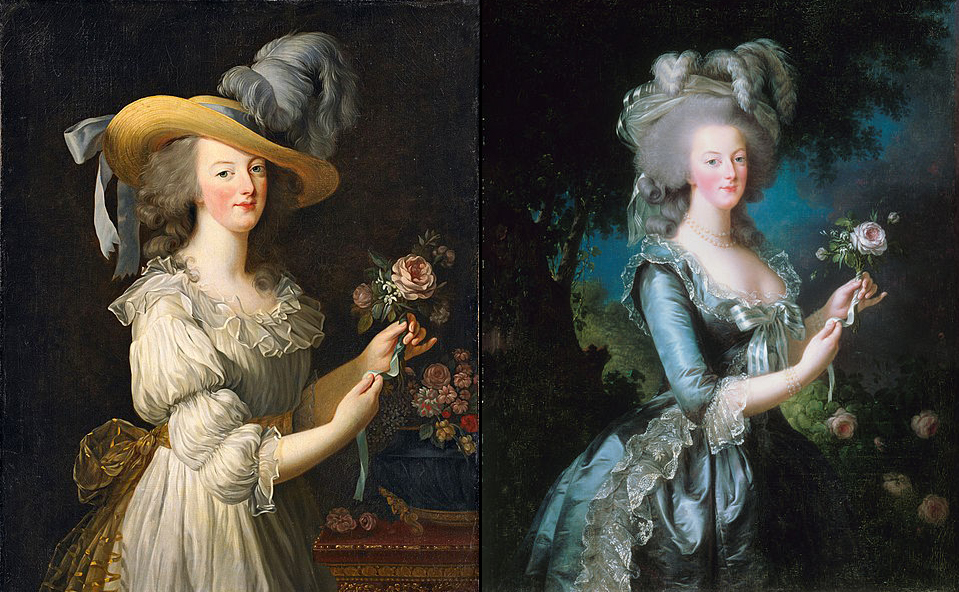 Marie Antoinette wore in these paintings a muslin dress and the more acceptable formal attire.