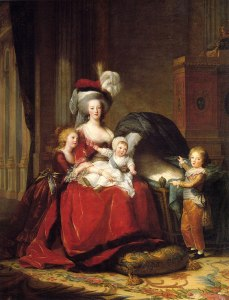 Marie Antoinette wore this red dress for this painting of her and her children.