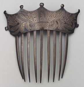 Decorative hair combs - silver