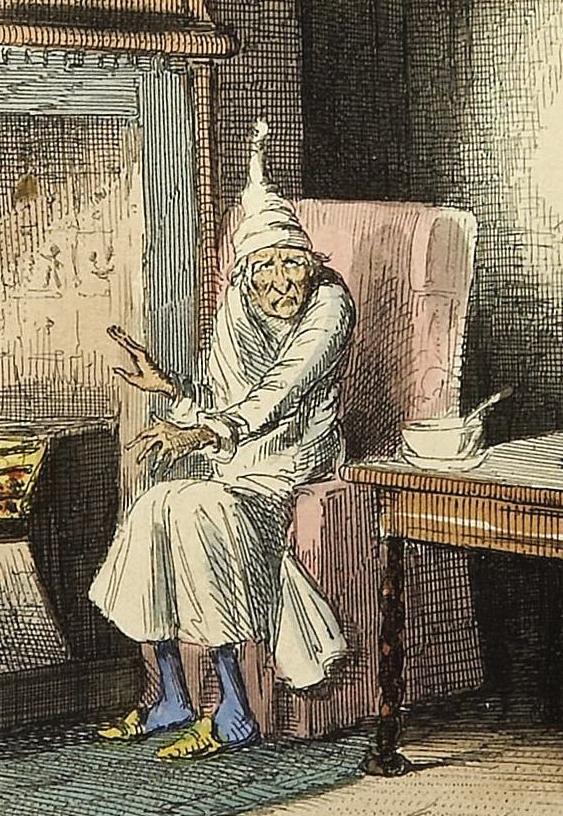 Caps - John Leech's Ebenezer Scrooge with nightcap
