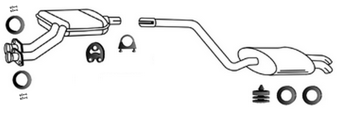 Mercedes W201 190 2.0 2.3 E 03/1991-07/1993 exhaust system