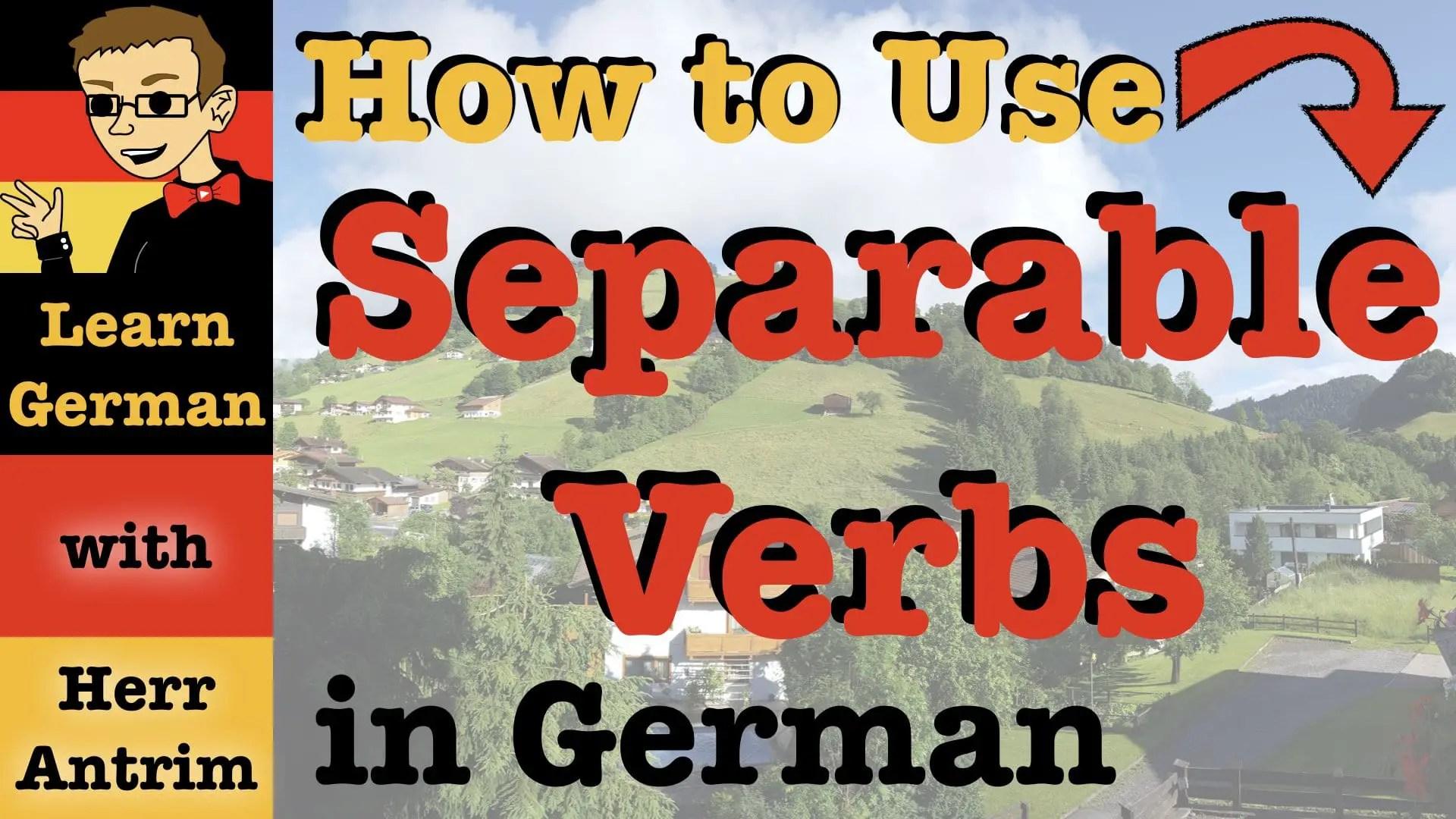 German Separable Verbs Worksheet