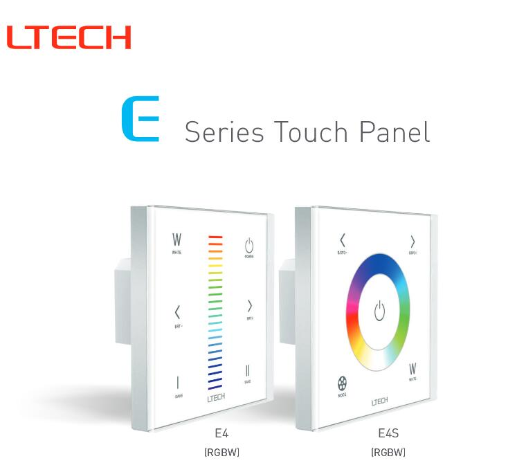 RF+Touch Panel LTECH E4S RGBW Wall Mounted LED Controller