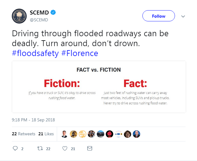 Tweet from SCEMD, clarifying the fake news that is spreading across like wildfire.