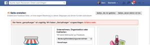 Bei fehlerhaftem Namen schlägt Facebook Namensvarianten vor.