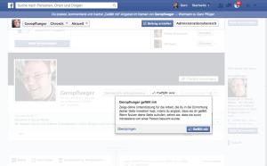 Facebook fordert dazu auf, die Seite mit Gefällt mir zu markieren, aber dieses Like geben wir erst später.