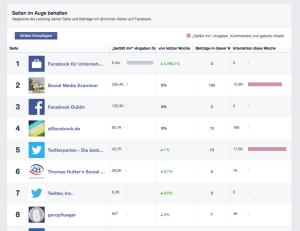 Mit der Beobachtungsliste (Pages to Watch) bietet Facebook ein kleines Monitoring-Tool.