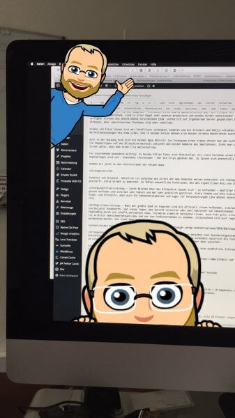 Bitmojis in einem Snap eingebaut