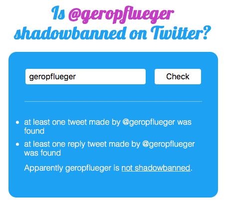 Dieser Shadowban-Tester zeigt, ob ein Twitter-Account gebannt oder sichtbar ist