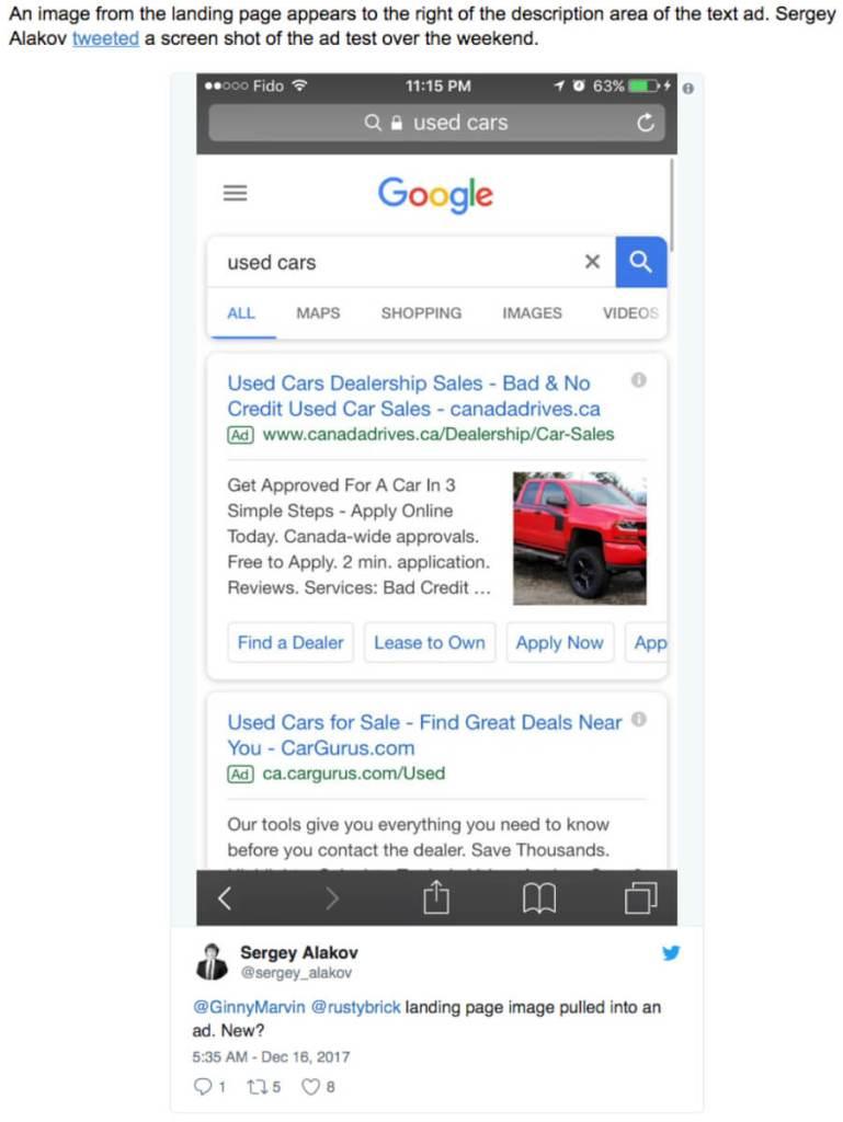 Screenshot Google Adwords mit Bildern
