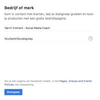 Facebook pagina aanmaken - type pagina
