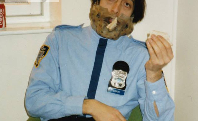 Richard James on Space Precinct eating some lunch (tuna sandwich)