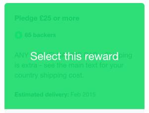 Selecting a reward for Firestorm on Kickstarter