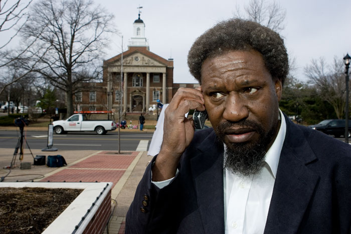 "2nd Place News - Gerald Thornton takes a phone interview outside of the Kirkwood City Hall Feb. 8, 2008. Thornton is the borther of Charles Lee ""Cookie"" Thornton who entered the Kirkwood City Hall armed Feb. 7. ""Cookie"" Thornton killed two officers and three more city workers before he was killed by police officers."