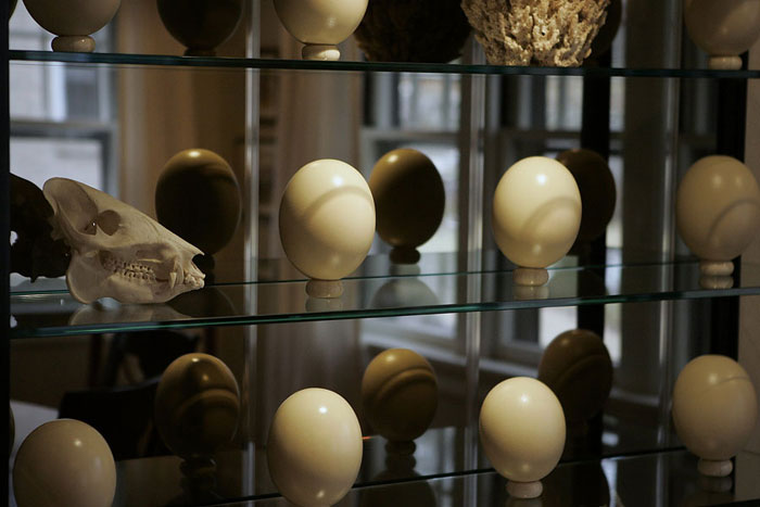 Faux ostrich eggs line the shelve in the dining room of Edwin Massie. ©2009 Max Gersh | St. Louis Post-Dispatch