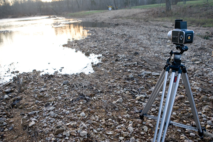 A Hasselblad 500 C/M set up on a tripod overlooking a stream in Potosi, MO. ©2009 Max Gersh