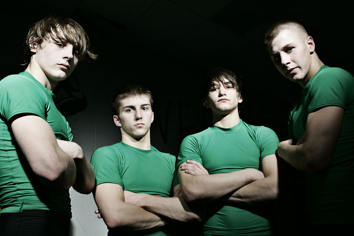New Castle wrestlers (left to right) Connor Mullins, Brenden Campbell, Alex Catron and Cody Fellers will compete Friday and possibly Saturday in the Indiana High School Athletic Association state championships. (C-T photo Max Gersh) ©2010