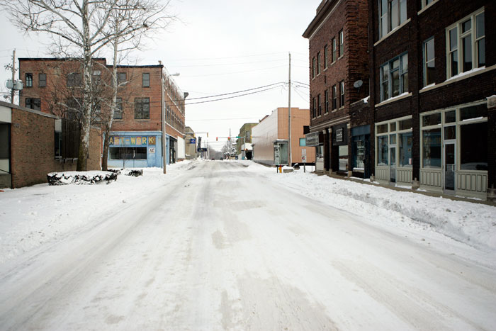 Snow covered roads in New Castle, IN, a few days after a snow storm. This road is directly in front of The Courier-Times office. (C-T photo Max Gersh)