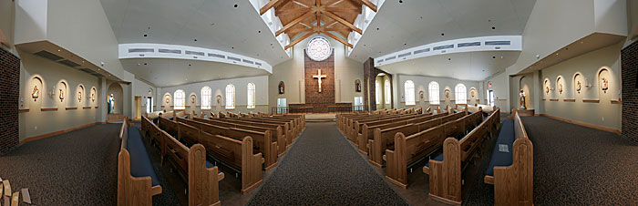The interior of the new St. Anne Catholic Church is seen in this photo illustration showing approximately a 180-degree view. The image was composed from 24 separate photos. (C-T photo illustration Max Gersh) ©2010