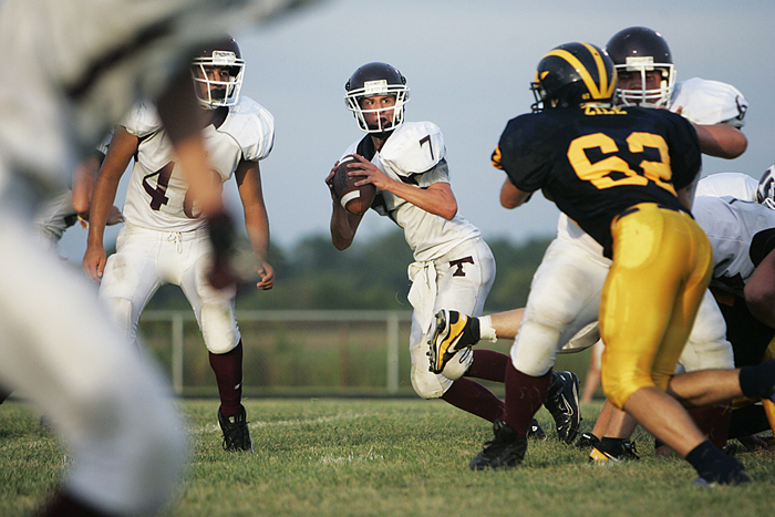 Tri QB draws back to look for open receivers. (C-T photo Max Gersh) ©2010