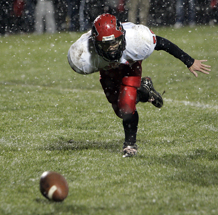 A Knightstown player chases a loose ball Friday night.(C-T photo Max Gersh) ©2010