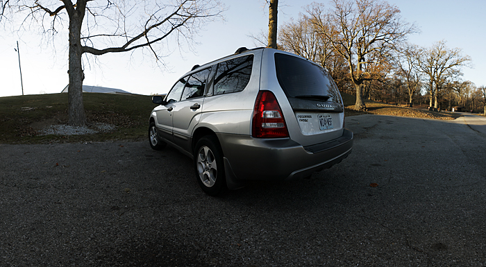 A panorama of my Subaru Forester in Memorial park. This was shot on my DIY nodal slide and consists of 18 images. ©2010