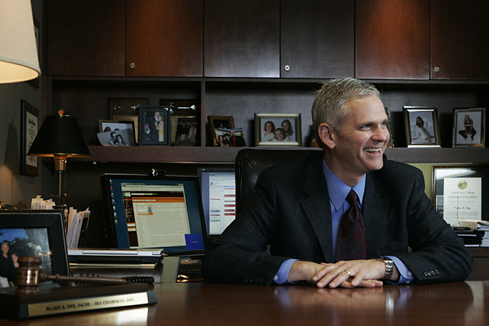 Blake A. Dye, president and CEO of Henry County Hospital, talks in his office Thursday afternoon. Dye will be leaving Henry County Hospital to become the new president of the St. Vincent Heart Center of Indiana in Indianapolis. (C-T photo Max Gersh) ©2010