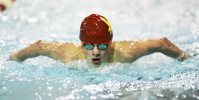 MAX GERSH | ROCKFORD REGISTER STAR ©2011 Max Saichek of Jefferson High School competes in the 100 yard butterfly event Saturday, Jan. 15, 2011, at the Jefferson High School boys swim invitational in Rockford.