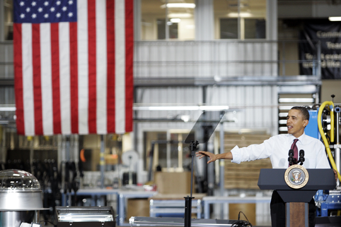 MAX GERSH | ROCKOFRD REGISTER STAR President Barack Obama speaks to a crowd Wednesday, Jan. 26, 2011, inside of Orion Energy Systems in Manitowoc, Wis. ©2011