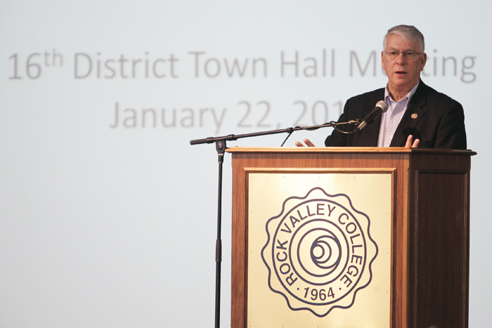 MAX GERSH   ROCKFORD REGISTER STAR Rep. Don Manzullo speaks Saturday, Jan. 22, 2011, at a town hall meeting at the Rock Valley College Stenstrom Center in Rockford. ©2011