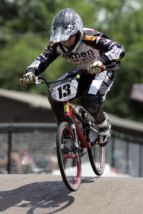 MAX GERSH | ROCKFORD REGISTER STAR Erik Meyer,12, of Libertyville, Ill., comes down over a hill Thursday, June 16, 2011, during practice runs for the ABA BMX Midwest Nationals at Searls Park in Rockford. ©2011
