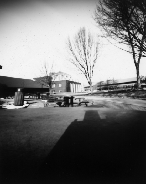 Black and white 4x5 image shot on photo print paper in a pinhole camera. ©2011 Max Gersh