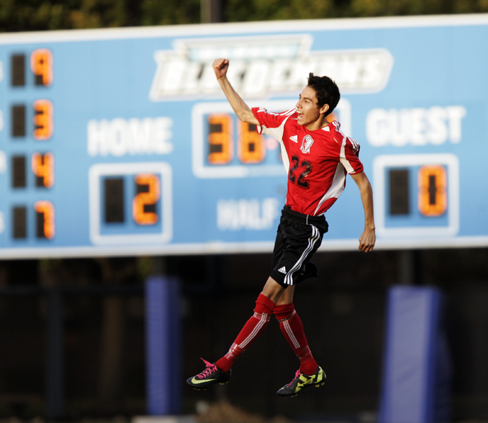 MAX GERSH | ROCKFORD REGISTER STAR Stillman Valley's Pifa Estrada (22) celebrates after scoring the team's only goal Tuesday, Oct. 25, 2011, during the 1A supersectional soccer tournament against Parker at DePaul University's Wish Field in Chicago. © 2011