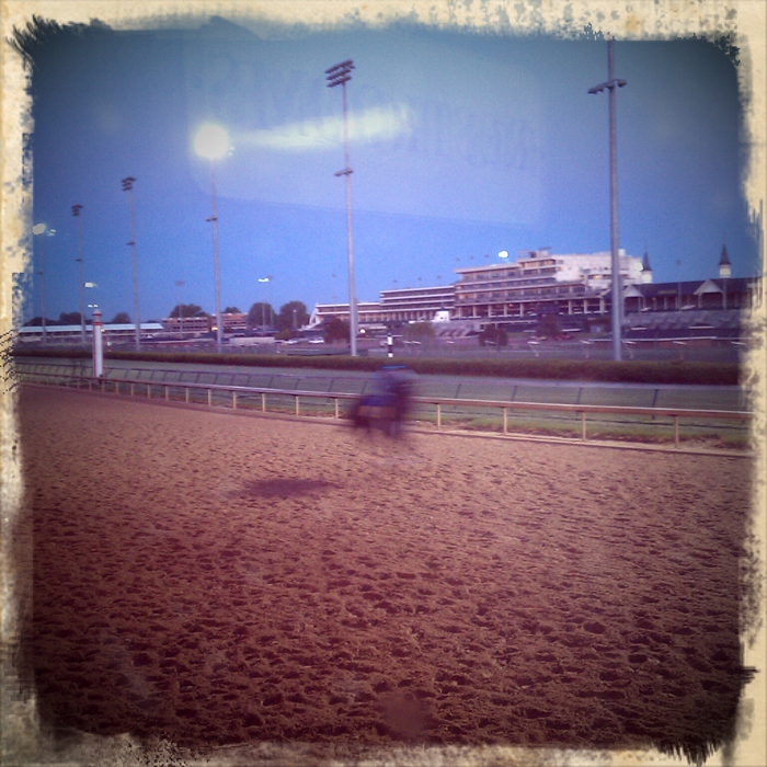 Watching horses warm up on the backside at Churchill Downs in Louisville, Ky. Shot using Retro Camera on a Droid Incredible. ©2012 Max Gersh