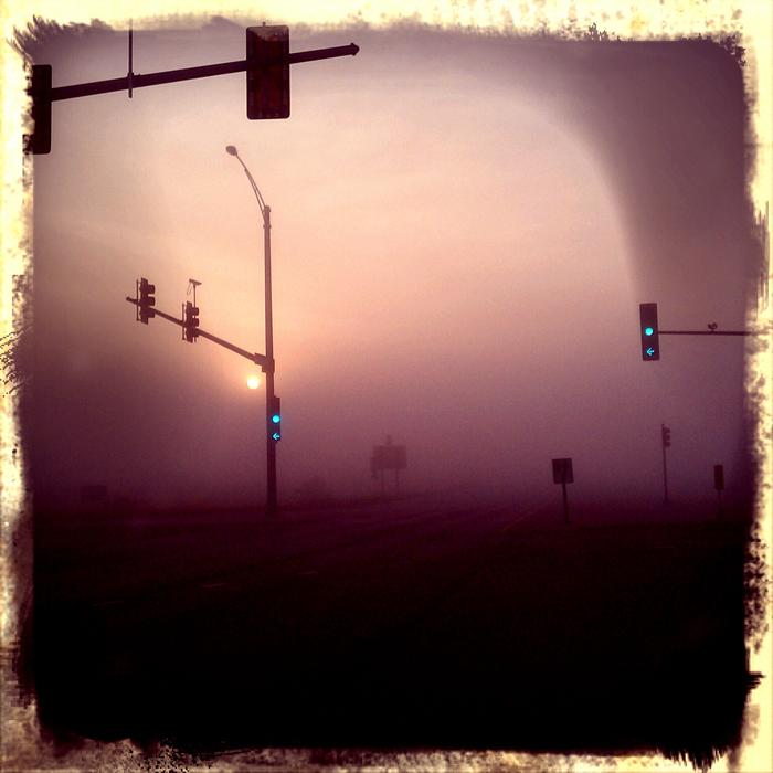 Morning fog at the intersection of East Riverside Boulevard and Interstate 90 in Loves Park. Shot using Retro Camera on a Droid Incredible. ©2012 Max Gersh