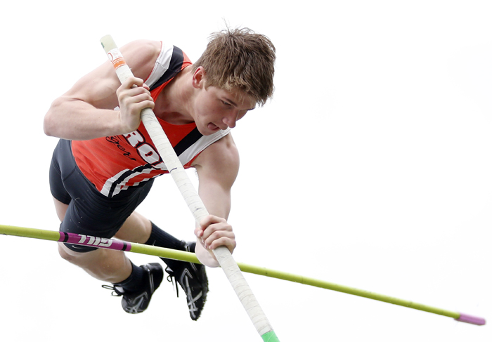 Byron's Danny Falconer tries to clear the bar in the pole vault Thursday, May 9, 2013, during the Big Northern Conference boys track meet at Oregon High School. MAX GERSH/ROCKFORD REGISTER STAR ©2013