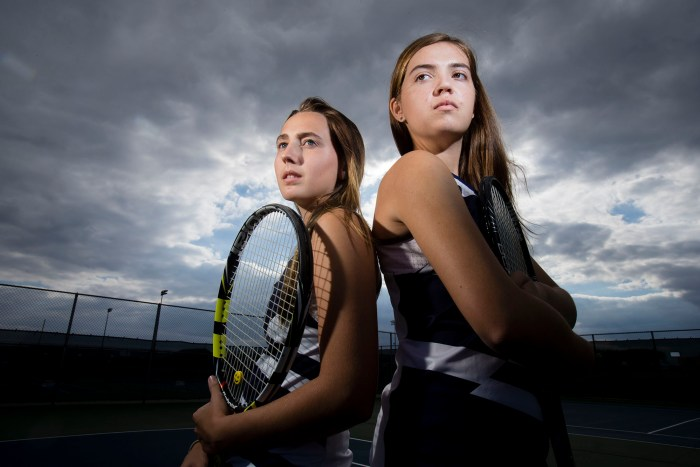 Belvidere North's starting doubles team, Leraaen Abbott (left), 17, and Kayla Vittore